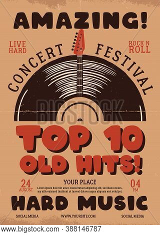 Retro Music Flyer A4 Format. Top 10 Old Hits Poster Graphic Design With Guitar And Text. Stock Vecto
