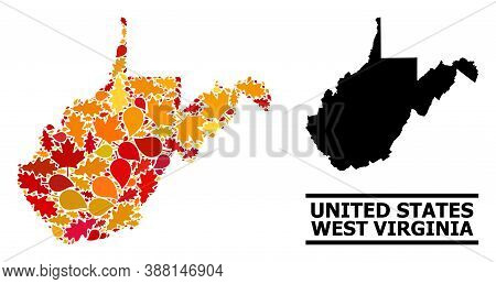 Mosaic Autumn Leaves And Solid Map Of West Virginia State. Vector Map Of West Virginia State Is Desi