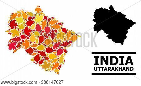 Mosaic Autumn Leaves And Solid Map Of Uttarakhand State. Vector Map Of Uttarakhand State Is Shaped W