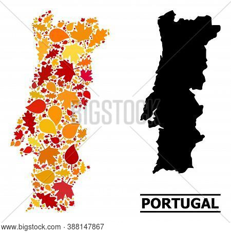 Mosaic Autumn Leaves And Solid Map Of Portugal. Vector Map Of Portugal Is Constructed With Random Au