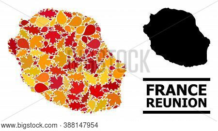 Mosaic Autumn Leaves And Solid Map Of Reunion Island. Vector Map Of Reunion Island Is Designed With