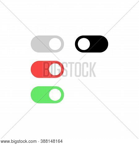 Toggle Switch Icon Set. On And Off Button. For Mobile Apps Or Websites. Vector Eps 10. Isolated On W