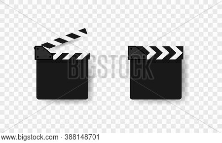 Movie Clapper Icon. Cinematography Industry. Vector Eps 10. Isolated On Transparent Background