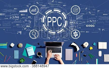Ppc - Pay Per Click Concept With Person Using A Laptop Computer