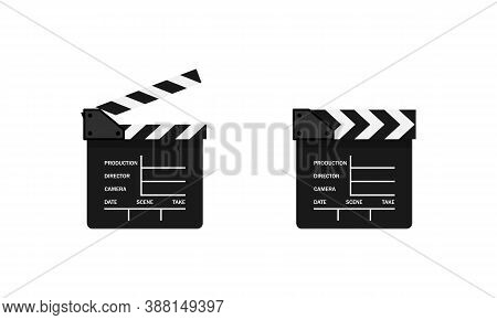 Movie Clapper Icon. Film Production. Cinematography. Vector Eps 10. Isolated On White Background