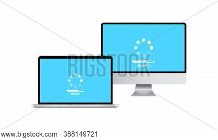 Devices Icon. Laptop And Computer Display. System Software Update And Upgrade Concept. Loading Proce