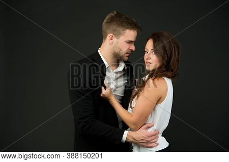 Sexy Couple In Love. Business Couple Represent Sexual Harassment. Office Fashion And Corporate Attir