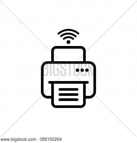 Wireless Printer With Wifi Icon. Fax, Printing, Paper, Doc Line Icon. Vector Eps 10. Isolated On Whi