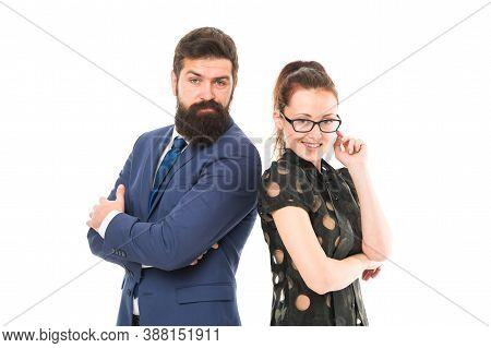 Trust Me Im Secretary. Boss And Secretary Isolated On White. Company Owner And Office Secretary. Sex