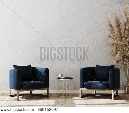 Modern Living Room Interior Background Mock Up, Lobby Concept, Two Dark Blue Stylish Armchairs With