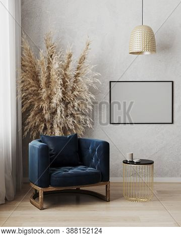 Picture Frame Mock Up In Modern Living Room Interior Background With Dark Blue Armchair And Gray Wal
