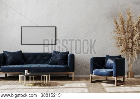 Blank Poster Frame In Modern Scandinavian Style Living Room Interior Mock Up With Dark Blue Sofa And