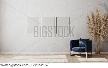 Blank White Poster Frames Mock Up On Gray Wall In Modern Living Room Interior With Dark Blue Armchai