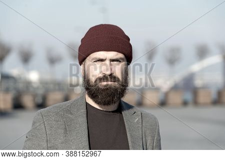 Man Bearded Hipster Stylish Fashionable Coat And Hat. Stylish Modern Outfit Hat Bright Accessory. Hi