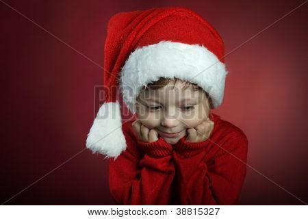 beauty boy in christmas hat