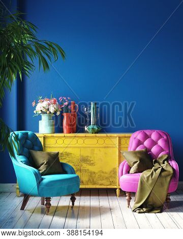 Dark Colorful Home Interior With Retro Furniture, Mexican Style Living Room, 3d Illustration
