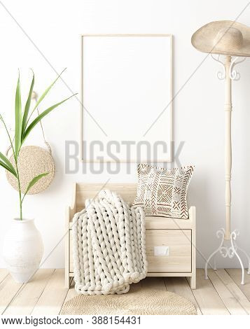 Mock Up Poster In Hallway Interior, Scandinavian Style, 3d Illustration