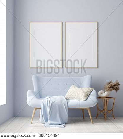 Mockup Poster In Modern Living Room Interior In Pastel Colors, 3d Illustration