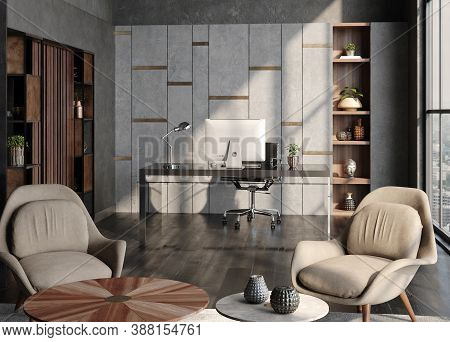 Modern Home Office Interior In Loft, Industrial Style, 3d Illustration