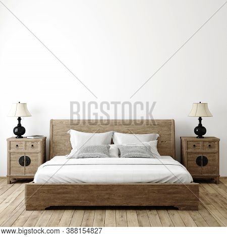 Farmhouse Bedroom Interior Background, Wall Mockup, 3d Illustration