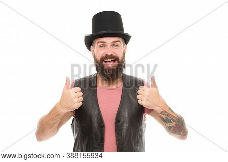 Circus Magic Trick Performance. Magician Circus Worker. Man Bearded Guy Cheerful Face Solve Problem
