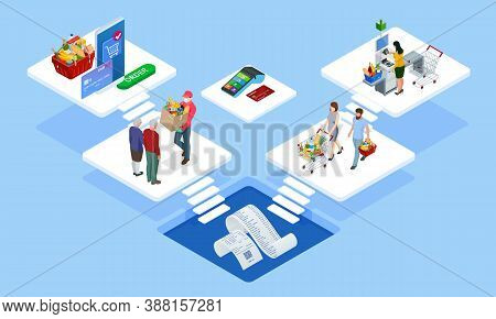 Isometric Online Food Ordering From Supermarket Using Mobile App. Shopping Basket With Fresh Food. G