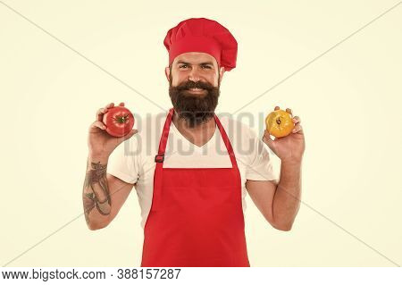 Tomato Soup. Tomatoes For Delicious Meal. Eat Fresh Tomato. Healthy Cooking Concept. Man Beard Groce