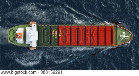Freighter Ship With Portuguese Cargo Containers Sailing In Ocean, 3d Rendering