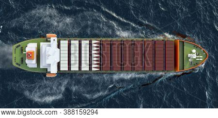 Freighter Ship With Qatari Cargo Containers Sailing In Ocean, 3d Rendering