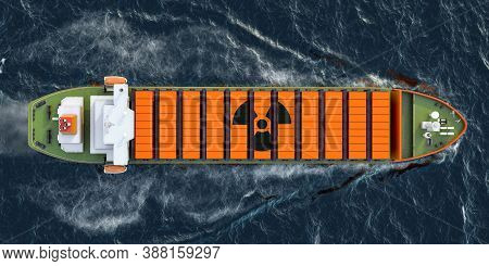 Freighter Ship With Radioactive Waste In Cargo Containers Sailing In Ocean, 3d Rendering