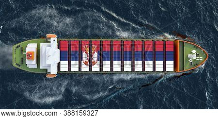 Freighter Ship With Serbian Cargo Containers Sailing In Ocean, 3d Rendering