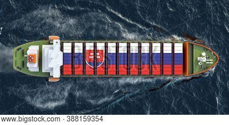 Freighter Ship With Slovak Cargo Containers Sailing In Ocean, 3d Rendering