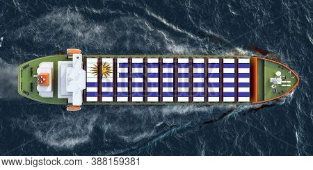 Freighter Ship With Uruguayan Cargo Containers Sailing In Ocean, 3d Rendering