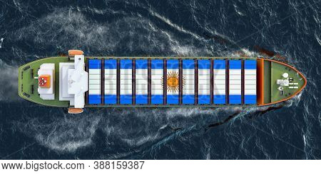 Freighter Ship With Argentinean Cargo Containers Sailing In Ocean, 3d Rendering