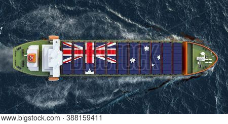 Freighter Ship With Australian Cargo Containers Sailing In Ocean, 3d Rendering