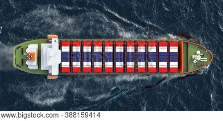Freighter Ship With Thailand Cargo Containers Sailing In Ocean, 3d Rendering