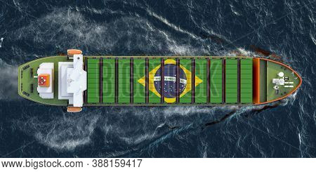 Freighter Ship With Brazilian Cargo Containers Sailing In Ocean, 3d Rendering