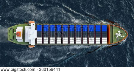 Freighter Ship With Estonian Cargo Containers Sailing In Ocean, 3d Rendering
