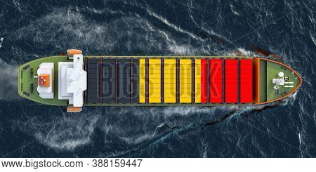Freighter Ship With Belgian Cargo Containers Sailing In Ocean, 3d Rendering