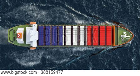 Freighter Ship With French Cargo Containers Sailing In Ocean, 3d Rendering