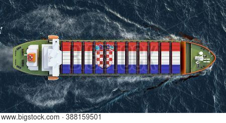 Freighter Ship With Croatian Cargo Containers Sailing In Ocean, 3d Rendering