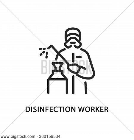 Disinfection Worker Flat Line Icon. Vector Illustration Of A Man In Protective Coveralls Wearing A R