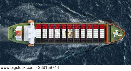 Freighter Ship With Egyptian Cargo Containers Sailing In Ocean, 3d Rendering