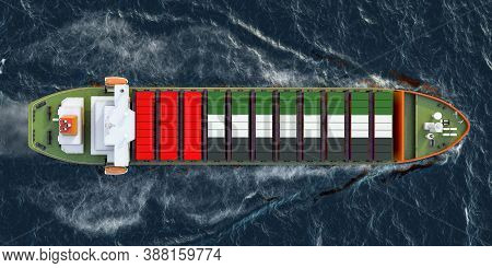 Freighter Ship With The United Arab Emirates Cargo Containers Sailing In Ocean, 3d Rendering