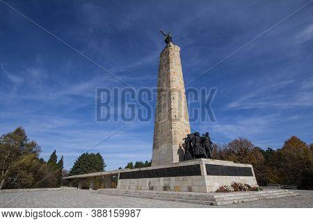 Fruska Gora, Serbia - November 19, 2019: Sloboda Memorial, Or Spomenik Na Vencu Near Novi Sad, Serbi