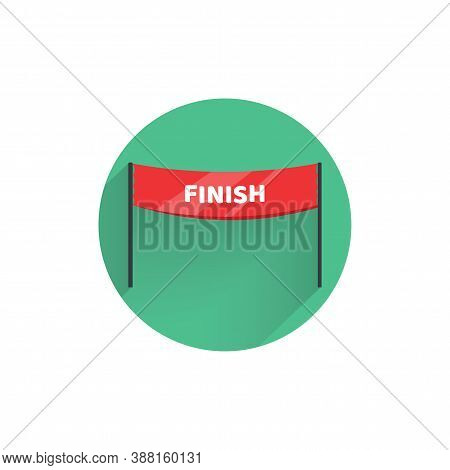 Finish Banner Flat Icon With Long Shadow. Finish Flat Icon
