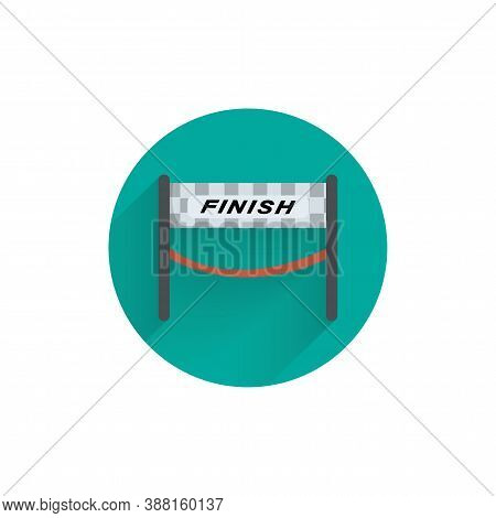Finish Banner. Sport Flag Finish Colorful Flat Icon With Shadow. Finish Flat Icon