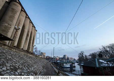 Panorama Of The Tamis River, On Pancevo Waterfront In The Center Of The City, During A Cloudy Aftern
