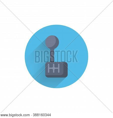 Car Gearbox Colorful Flat Icon With Shadow. Manual Gearbox Flat Icon