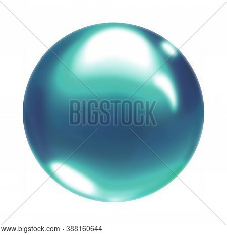 Blue Crystal Ball.blue Gradient Round Air Soap Bubble Ball.a Multicolored Circle Isolated On A White